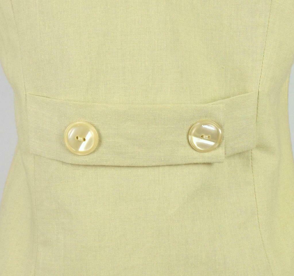 Vintage 80s Beige Cream Maxi Dress Cracker Jack Collar Short Sleeve Retro Size M image 9