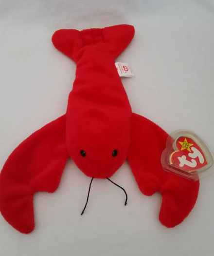 TY Beanie Babies Pinchers Lobster PVC PELLETS Style # RARE ERRORS Retired