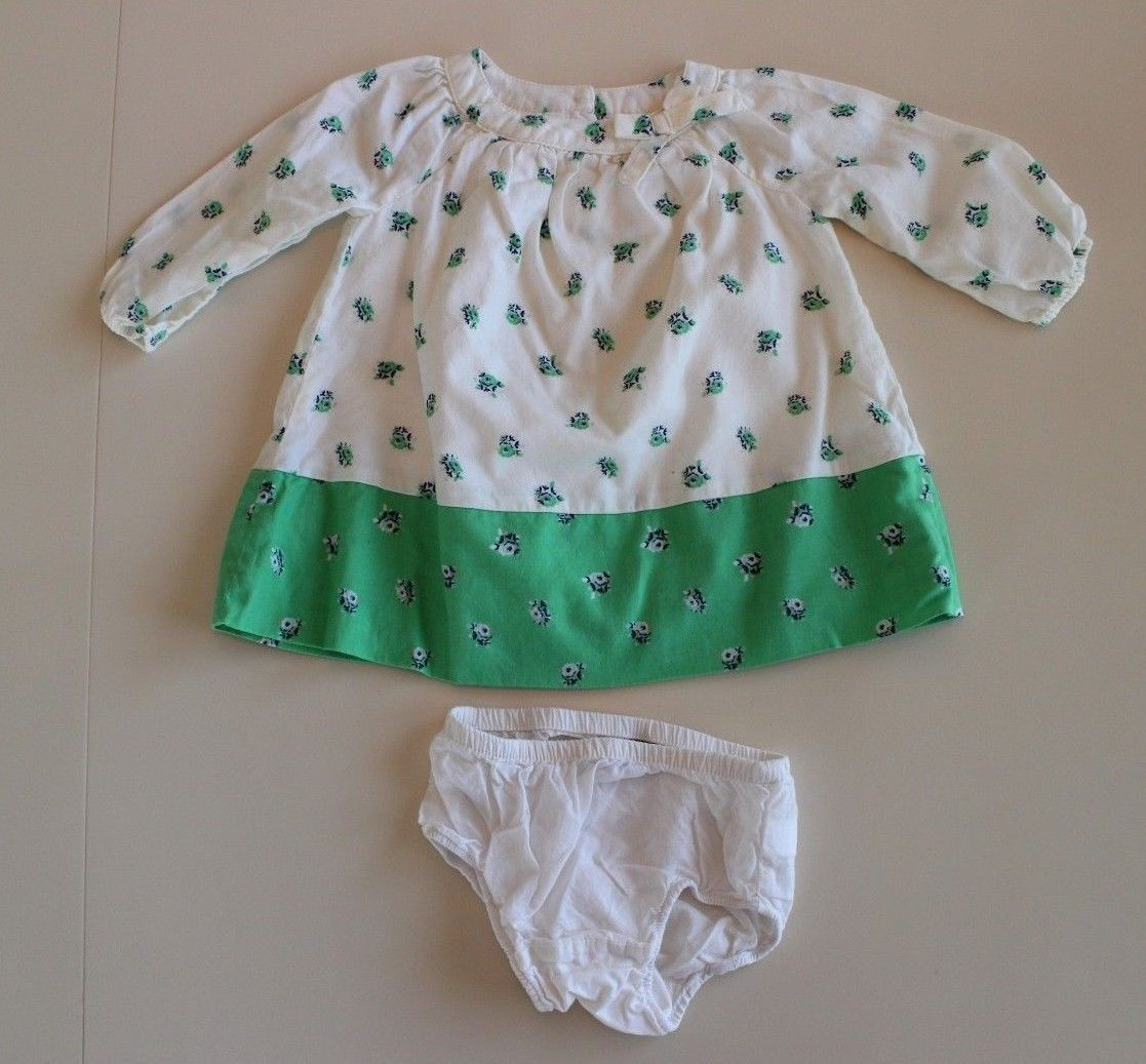 f6a068b11 Baby Gap 3-6 M Green Ivory Navy Floral Dress and similar items