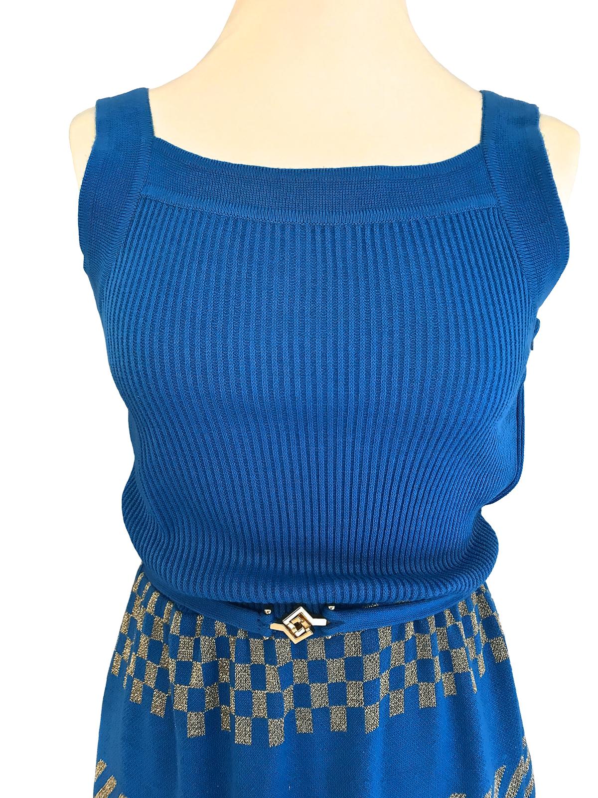 60s LOUIS FÉRAUD Bold Blue Gold Lurex Metallic Jersey Deco Print Belted Dress