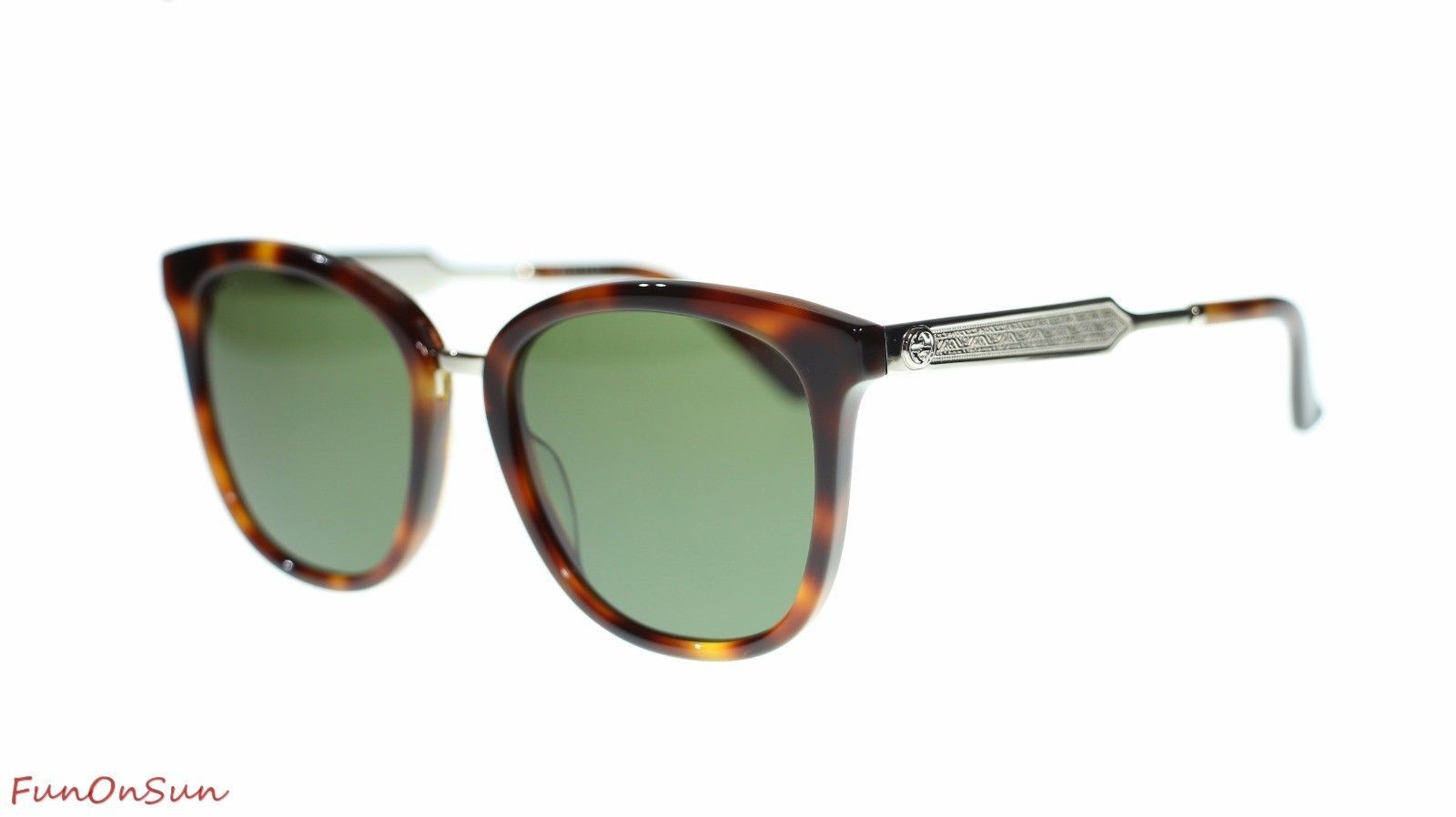 59605541e28e S l1600. S l1600. Previous. Gucci Square Sunglasses GG0073S 003 Havana  Silver/Green Lens 55mm Authentic