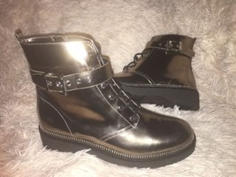 Michael Kors Vivia Nickel Metallic Leather Lace-Up Ankle Combat Boots SZ... - $129.00