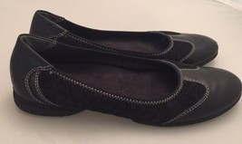 Easy Spirit Black Ballet Flats White Stitching Slightly Worn Leather Sue... - $23.09