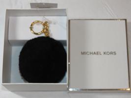 Michael Kors Natural Shearling Pompom Gold Key Chain Black key chain fob^^ - $32.17