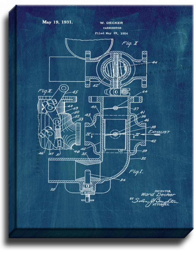 Primary image for Carburetor Patent Print Midnight Blue on Canvas