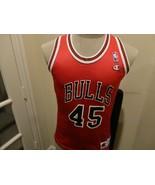Vtg 90s Red Champion Chicago Bulls #45 Michael Jordan NBA Screen Jersey ... - $34.64