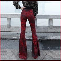 Retro 60s Flare Bell Bottom High Waist Red and Black Leopard Cotton Print Pants  image 3