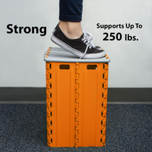 Heavy Duty Step Stool With Storage Box – Durable Portable Plastic Garage... - $16.44