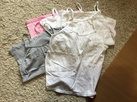 Lot of 5 Hanes Girl's Tank Tops Size Large 10-12 Pink White Gray - $10.00