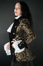 Black Gold Brocade Gothic Victorian Jacket Steampunk Short Pirate Prince... - $119.99