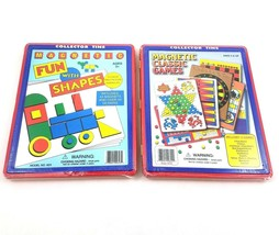 Magnetic Fun With Shapes Classic Games Lot Collector Tins Chinese Checke... - $27.55