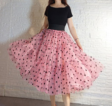 Pink Polka-Dot Puffy Tutu Skirt Outfit A-line Layered Plus Size Puffy Midi Skirt image 2