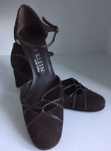 Anne Klein Brown Suede Leather Shoes 7M ankle straps Made in Italy - $41.58