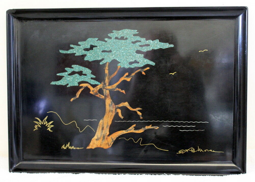 Vintage Couroc Bonsai Inlay Motif Serving Tray ~ Bar TV Dinner Cocktail ~ Rare - $124.99