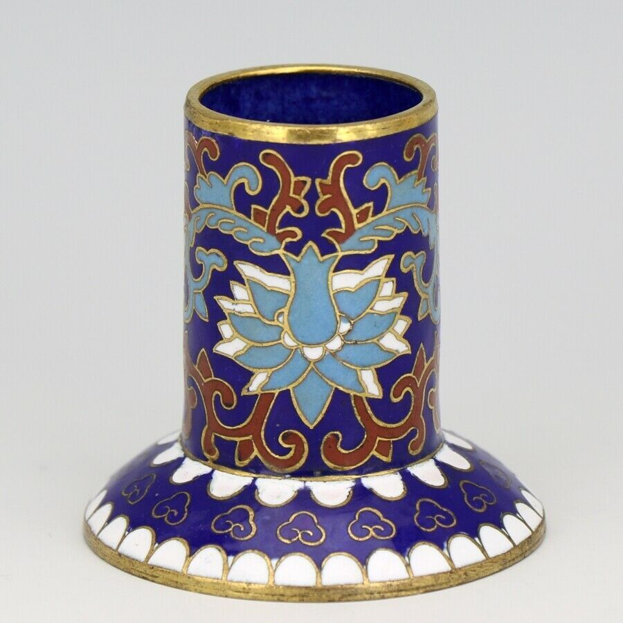 Vintage Chinese Cloisonne Blue Flowers Toothpick Holder
