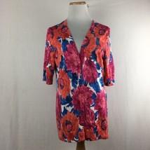 Talbots Women's Floral Orange & Blue Bright Colors Cardigan Sweater Sz M... - $24.88