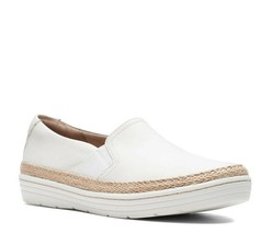 Clarks Marie Sail Slip On Walking Sneaker White Leather Espadrille Womens Size 9 - $50.00