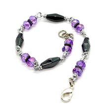 Bracelet the Aluminium Long 19 Inch with Hematite and Crystal Purple image 3