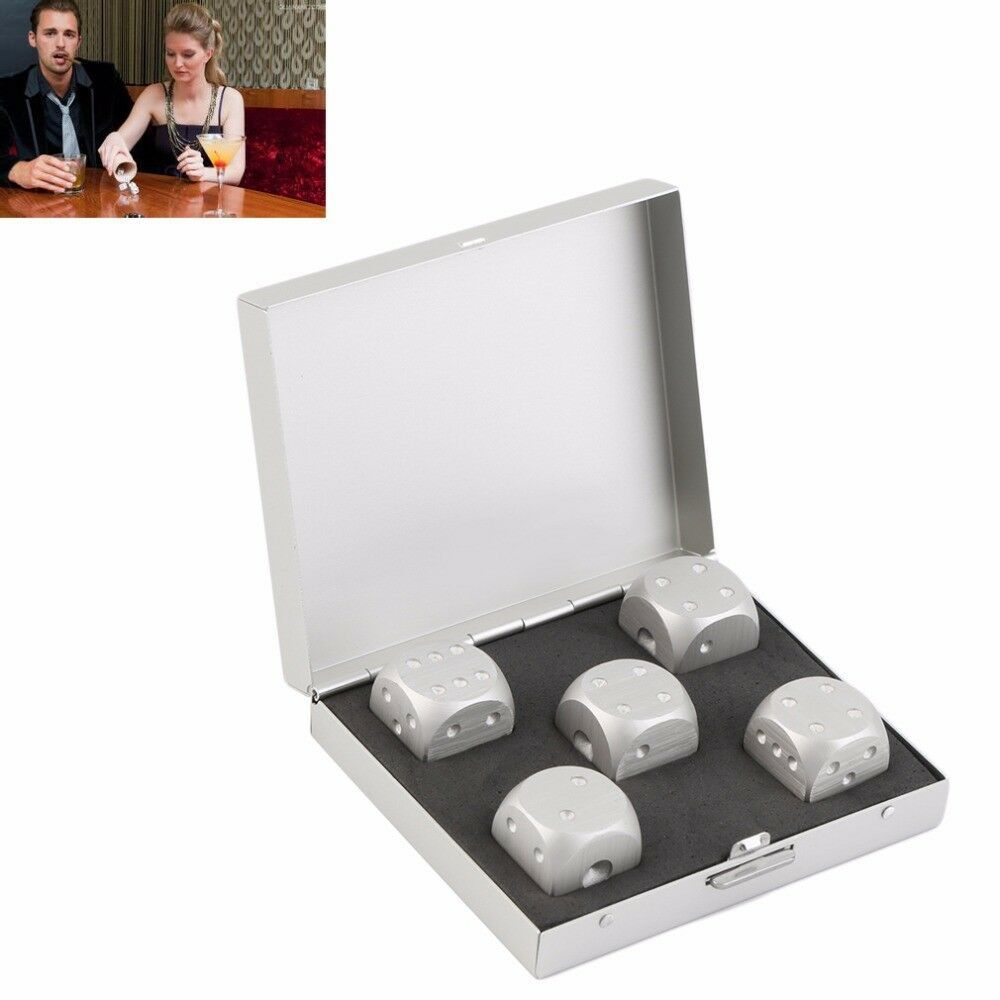 Dice And Container Sets Aluminum Alloys Silver Antirust Durable Elegant 5 Pieces