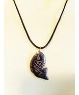 black fish stone pendant necklace cord unisex handmade gemstone animal j... - $5.99