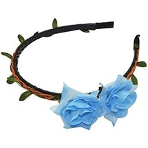 3 Pcs Woven Blue Lily Cloth Hair Bands Headdress Hair Accessories - $30.83