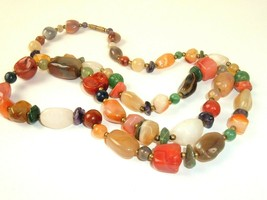 Polished Stone Necklace 70s Boho Earth tones vintage festival brass spacers - $29.69