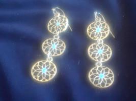 Brass Tone Dangling Flowers Earrings - $3.00