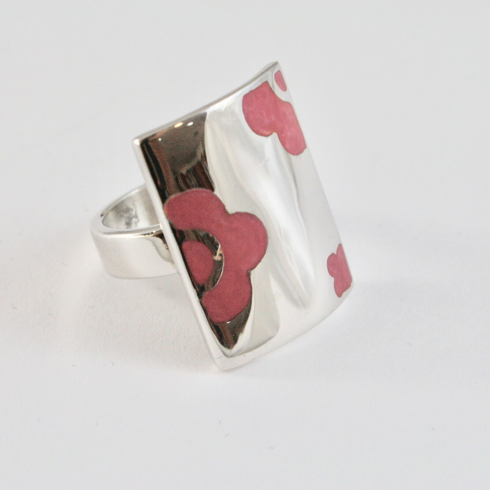 Ring Band Silver 925 Rhodium with Enamel Pink Shaped Flowers