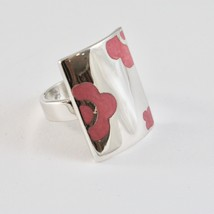 Ring Band Silver 925 Rhodium with Enamel Pink Shaped Flowers image 1