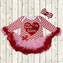 NEW Baby Girls Daddy's Valentine Chevron Heart Tutu Romper Dress Headban... - $8.44