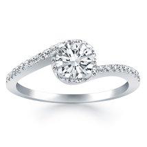 14k White Gold Bypass Swirl Diamond Halo Engagement Ring - $2,175.00