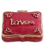 """LOVE Trinket or Pill Box Pink Enamel 2"""" wide 1 1/2"""" long - $33.88"""