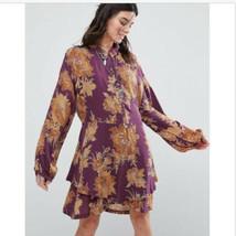Free People Shake It Printed Mini Dress Floral Berry Sz Small Purple - $49.99