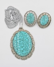 Vintage West Germany Faux Turquoise Necklace Earrings Demi Set - $14.83