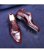 Men's Handmade Red Patina Croc Leather Oxfords Dress Formal Shoes - $159.99+