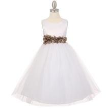 White Satin Bodice Layers Tulle Skirt Mocha Petals Ribbon Sash Flower Gi... - $42.99+