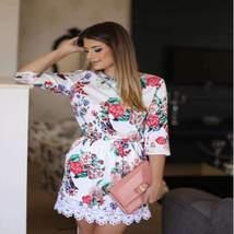 Casual Flower Print Quarter Sleeve Women Mini Dress - $17.26