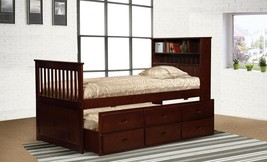 MYCO Furniture 9063-CH Avalon Cherry Twin Captain's Bed with Trundle & Storage