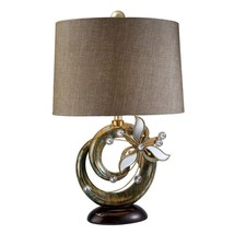28 in. Bronze with Streaks of Green and Brown Florria Table Lamp with Cr... - $133.63