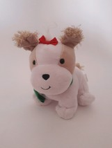 "HALLMARK white tan HOLIDAY PUP PUPPY DOG W/ GREEN COLLAR 6"" Christmas plush - $7.69"