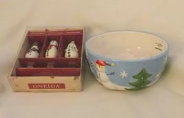 "LOT of Snowman = St. Nicholas Square OH WHAT FUN  6"" Bowl  & ONEIDA 3  S... - $14.50"