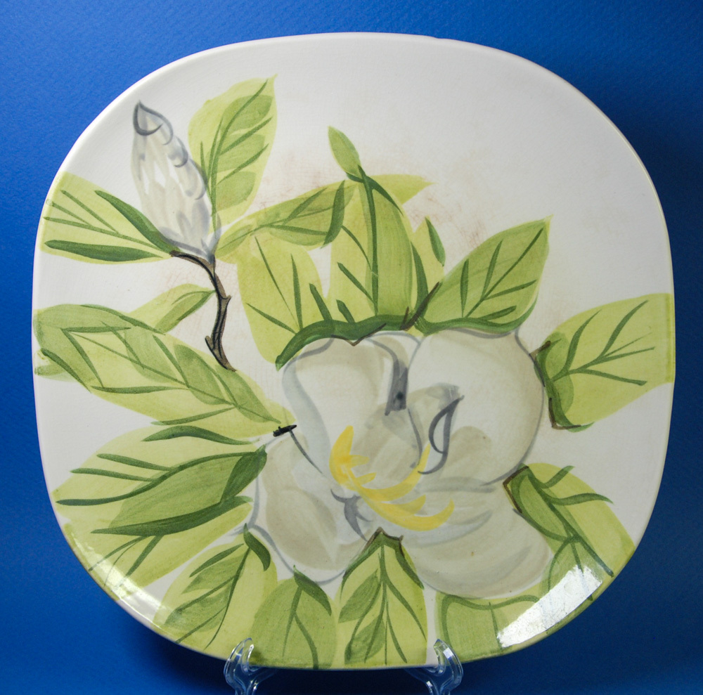 """Red Wing White Magnolia 10.5"""" Square Dinner Plate Hand Painted - $5.00"""