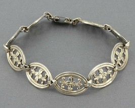 Vintage WE Richards WRE Symmetalic Sterling & 14K Gold Floral Link Bracelet - $21.99