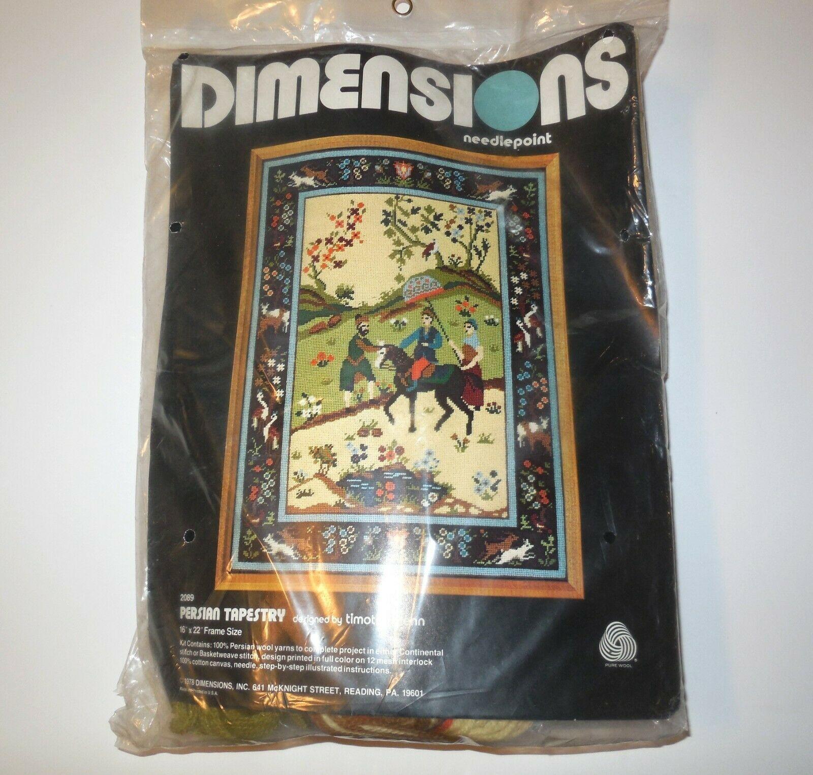 Dimensions Needlepoint new PERSIAN TAPESTRY #2089 NIP 1978 Timothy Glenn Vtg - $65.00