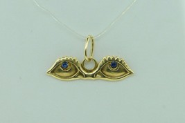 CORLETTO (c), 18K Yellow Gold, Evil Eyes Charm with Sapphire Eyes (Italian) - $165.00
