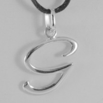 18K WHITE GOLD PENDANT CHARM INITIAL LETTER G, MADE IN ITALY 0.9 INCHES, 23 MM image 1