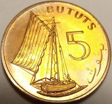 Gambia 5 Bututs, 1971 RARE Proof~32,000 Minted~Sailing Vessel~Free Shipping - $7.83