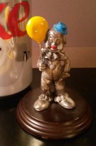 Pewter Clown Figurine Yellow Balloon Enesco George Good Wood Stand Vintage - $10.85