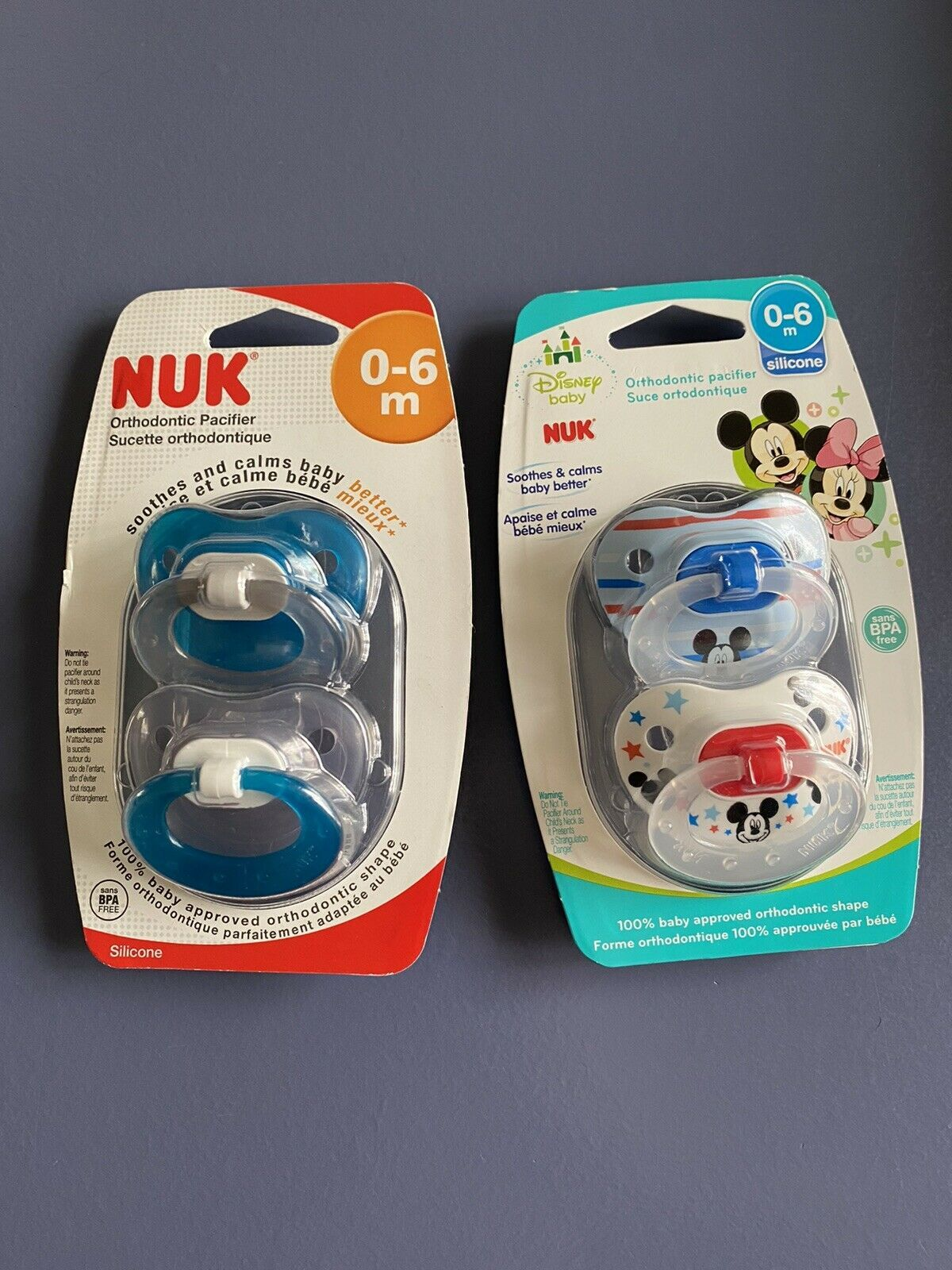 Primary image for NUK Disney Baby Mickey Mouse Orthodontic Pacifier 0-6 Months BPA FREE Blue