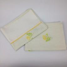 VTG Pair Pillowcase Springmaid Percale Floral Yellow Rose Stripe Roger B... - $10.10